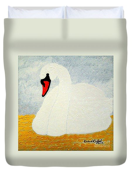 White Swan Lake Duvet Cover by Richard W Linford