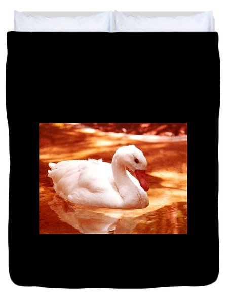 Duvet Cover featuring the photograph White Water Swan Beauty by Belinda Lee