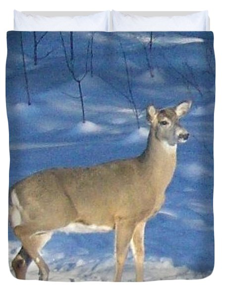 Duvet Cover featuring the photograph White Tail Deer by Brenda Brown