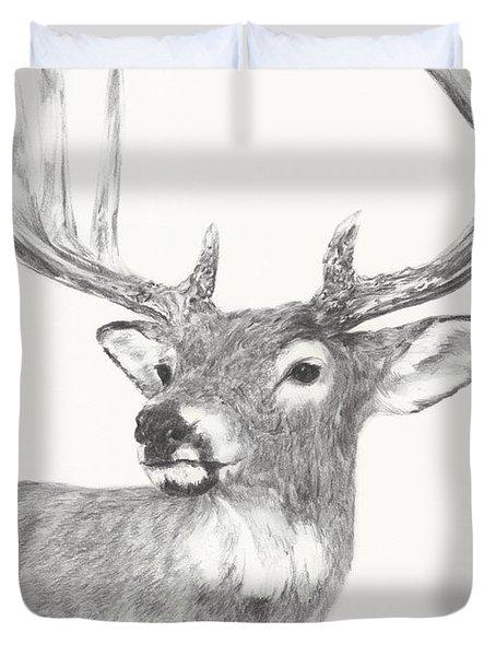 White Tailed Buck Study Duvet Cover