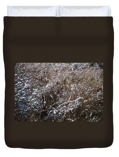 White Tailed Doe In High Weeds Duvet Cover