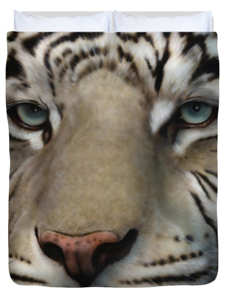 White Tiger - Up Close And Personal Duvet Cover