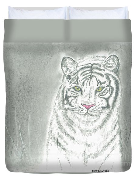 Duvet Cover featuring the pastel White Tiger by David Jackson