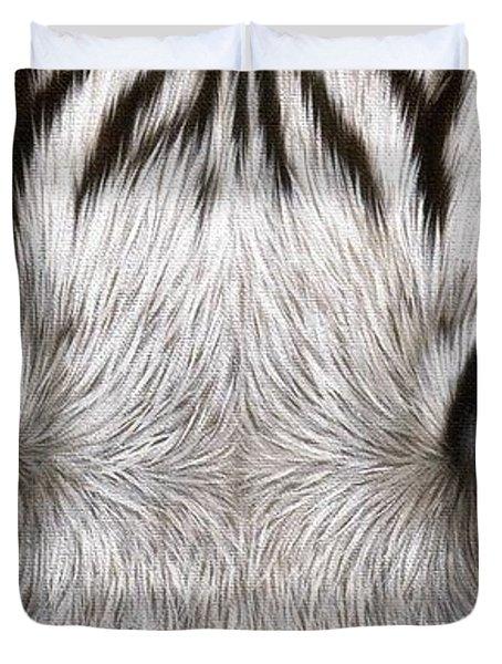 White Tiger Eyes Painting Duvet Cover