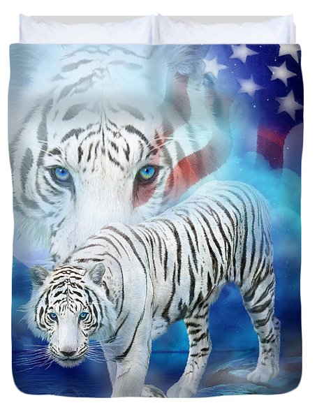 White Tiger Moon - Patriotic Duvet Cover by Carol Cavalaris