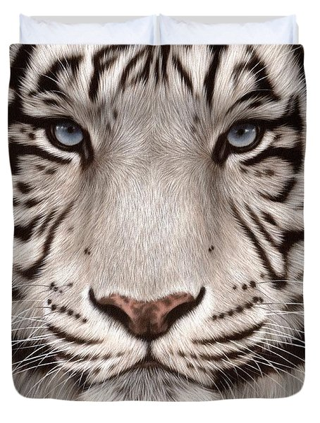 White Tiger Painting Duvet Cover