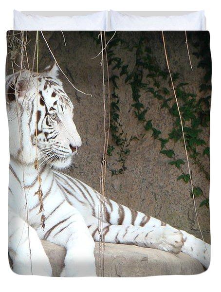 White Tiger Resting Duvet Cover