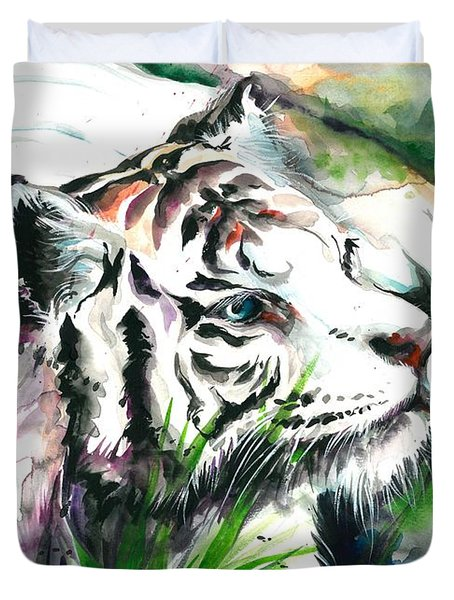 White Tiger Watercolor Art Print Duvet Cover