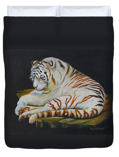 Duvet Cover featuring the painting White Tiger Sleeping by Phyllis Beiser