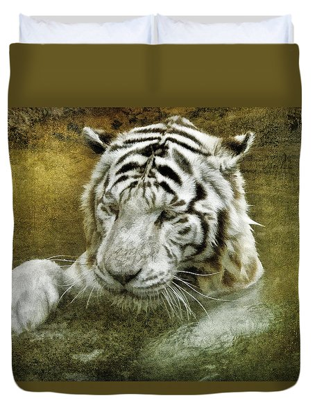 Duvet Cover featuring the photograph White Tiger's Bathtime by Brian Tarr