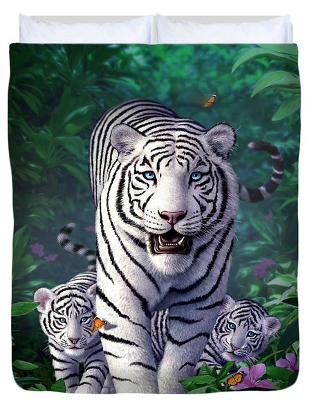 White Tigers Duvet Cover by Jerry LoFaro
