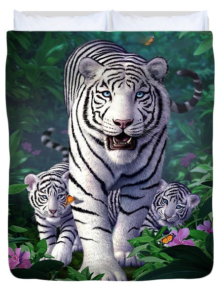 White Tigers Duvet Cover