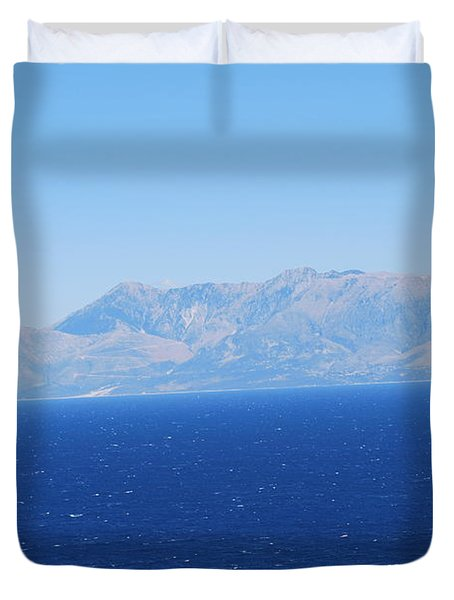 Duvet Cover featuring the photograph White Trail by George Katechis