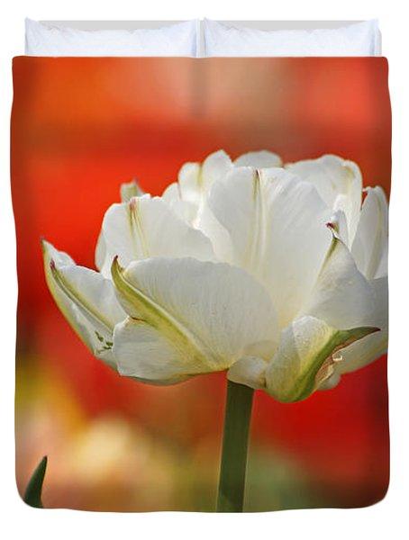 White Tulip Weisse Gefuellte Tulpe Duvet Cover