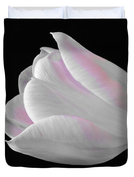 Duvet Cover featuring the digital art White Tulip With Pink by Jeannie Rhode