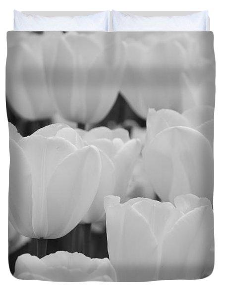 White Tulips B/w Duvet Cover by Jennifer Ancker