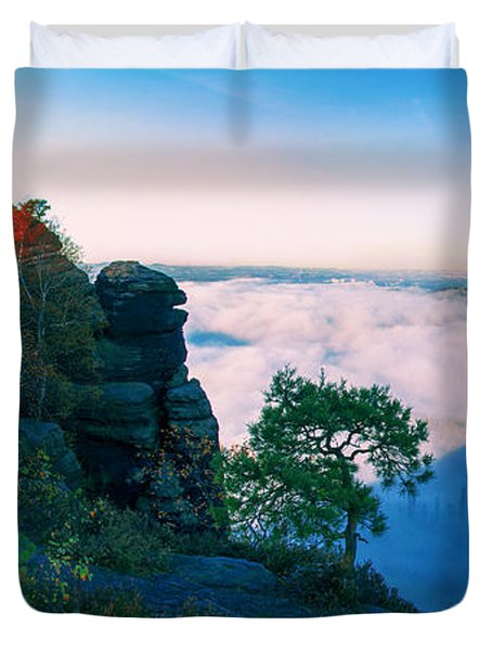 White Wafts Of Mist Around The Lilienstein Duvet Cover