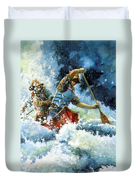 Duvet Cover featuring the painting White Water by Hanne Lore Koehler