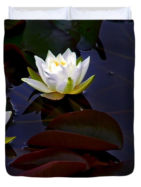 Duvet Cover featuring the photograph White Water Lilies by Nina Ficur Feenan