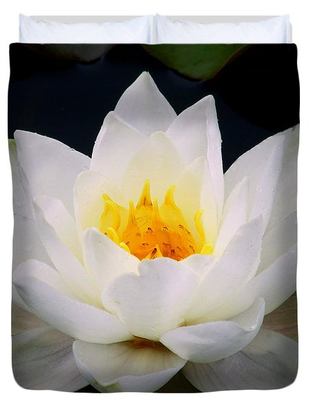 Duvet Cover featuring the photograph White Water Lily by Nina Ficur Feenan