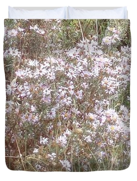 Duvet Cover featuring the photograph White Wild Flowers by Fortunate Findings Shirley Dickerson