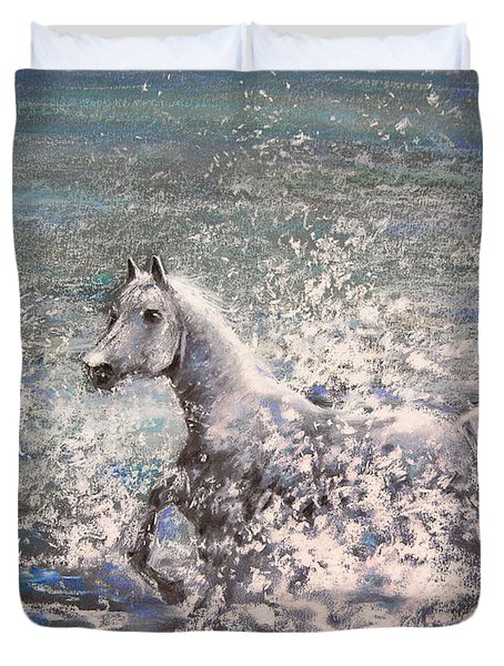 White Wild Horse Duvet Cover by Miki De Goodaboom