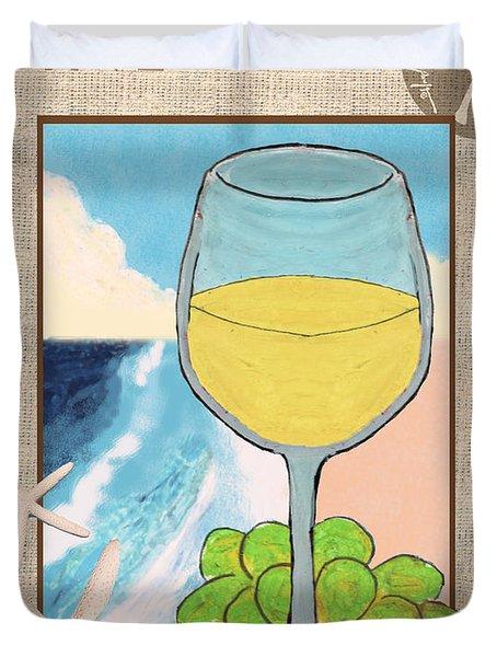 White Wine Beachside Duvet Cover by William Depaula
