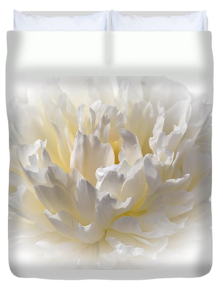 White Peony With A Dash Of Yellow Duvet Cover by Sherman Perry