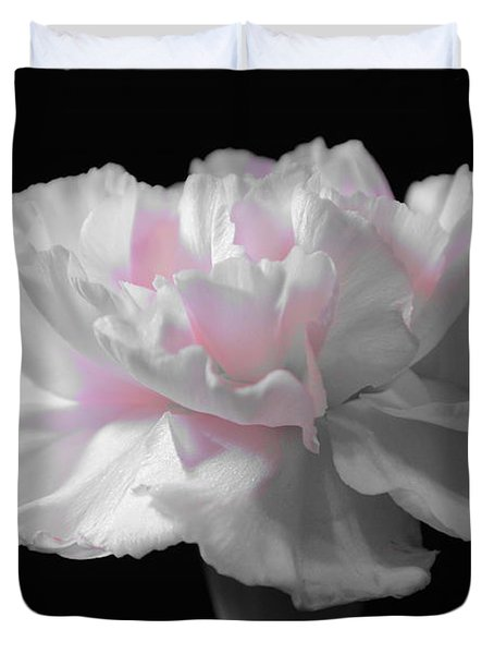 Duvet Cover featuring the digital art White With Pink Carnation by Jeannie Rhode