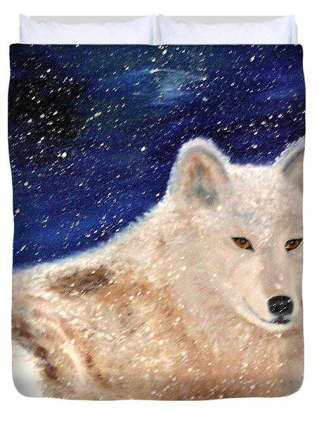 White Wolf In Winter Blizzard Duvet Cover