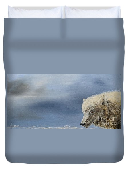 Duvet Cover featuring the painting White Wolf2 by Laurianna Taylor