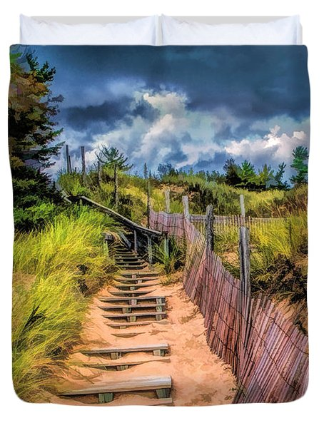 Whitefish Dunes State Park Stairs Duvet Cover