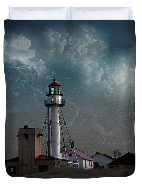 Whitefish Point Lighthouse Lake Superior Duvet Cover