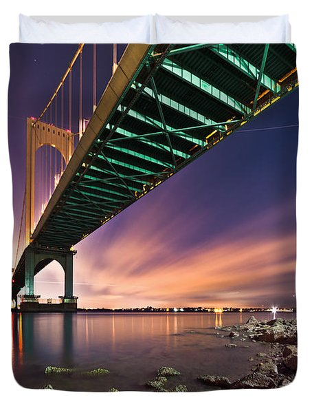 Whitestone Bridge Duvet Cover by Mihai Andritoiu