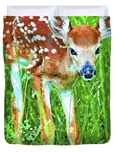 Whitetailed Deer Fawn Digital Image Duvet Cover
