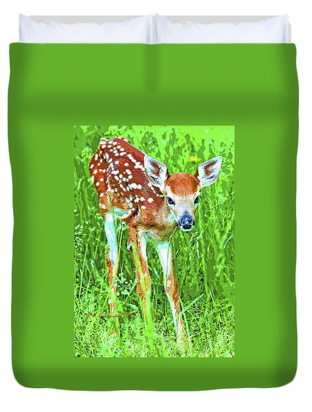 Whitetailed Deer Fawn Digital Image Duvet Cover