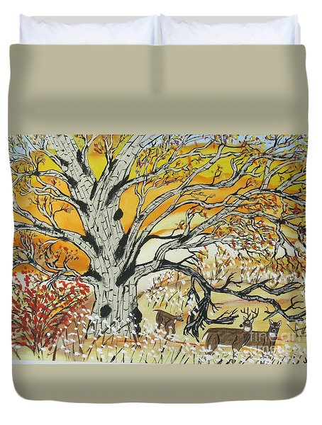 Duvet Cover featuring the painting Whitetails And White Oak Tree by Jeffrey Koss