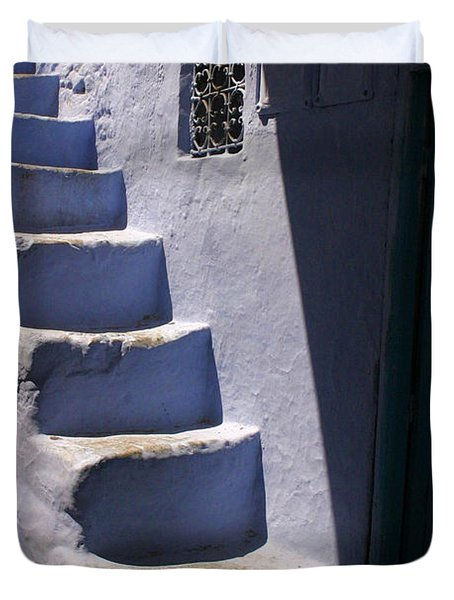 Whitewashed Steps In The Medina Of Asilah On Northwest Tip Of Atlantic Coast Of Morocco Duvet Cover