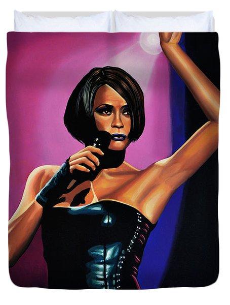 Whitney Houston On Stage Duvet Cover
