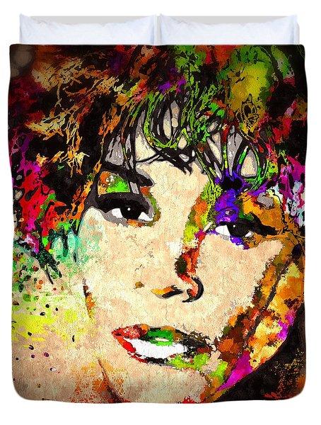 Whitney Houston Duvet Cover by Daniel Janda