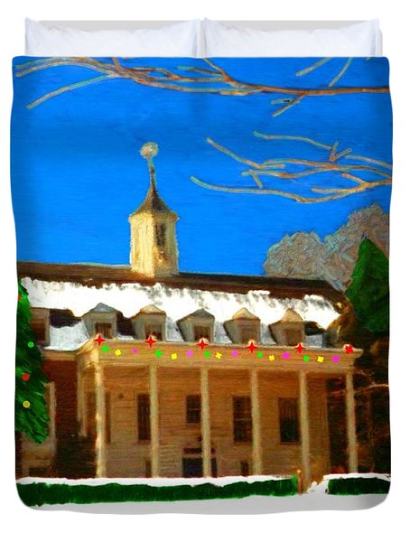 Whittle Hall At Christmas Duvet Cover