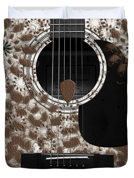 Who Are You - Owl Abstract Guitar Duvet Cover by Andee Design