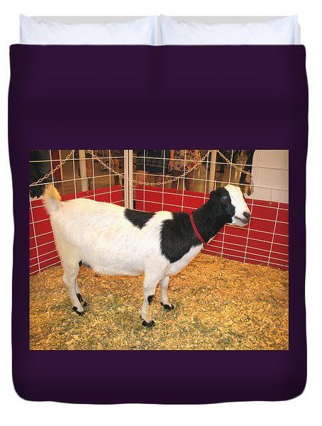 Who Ate The Walls? Maybe The Blue-eyed Goat Duvet Cover by Connie Fox