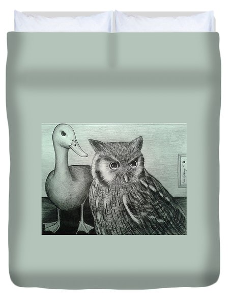 Duvet Cover featuring the drawing Who Quack by Richie Montgomery