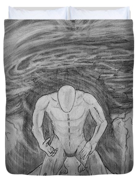 Duvet Cover featuring the drawing Whom Shall I Fear Part 1 by Justin Moore