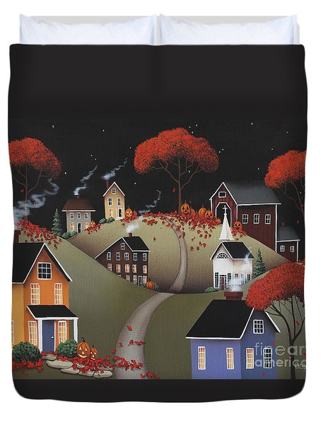 Wickford Village Halloween Ll Duvet Cover by Catherine Holman