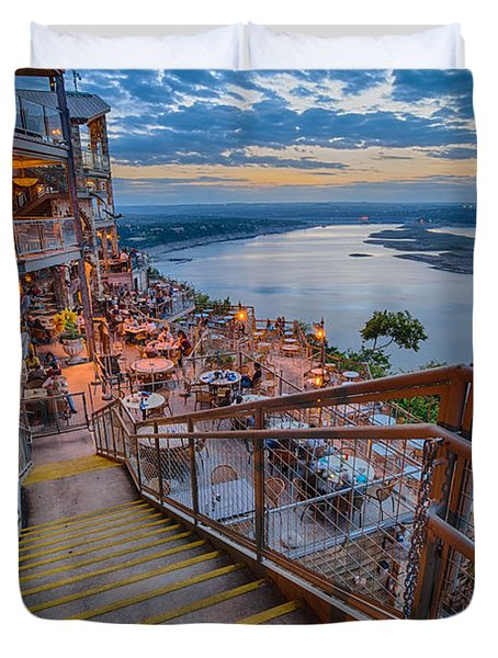 Wide Angle View Of The Oasis And Lake Travis - Austin Texas Duvet Cover