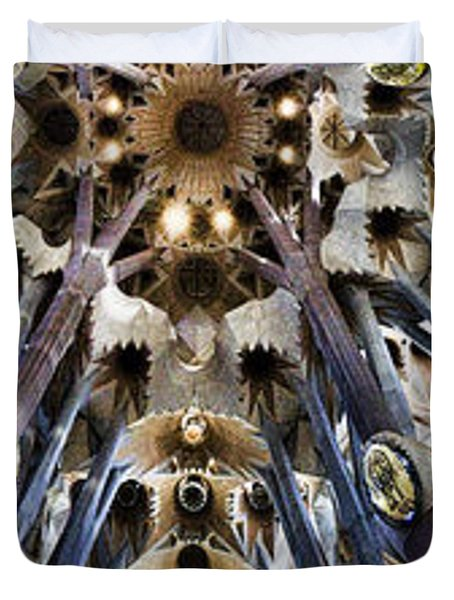 Wide Panorama Of The Interior Ceiling Of Sagrada Familia In Barcelona Duvet Cover