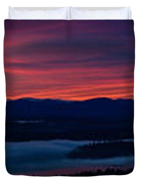 Wide Seattle Eastside Sunrise Pano Duvet Cover