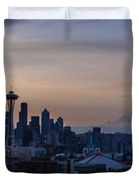 Wide Seattle Morning Skyline Duvet Cover by Mike Reid